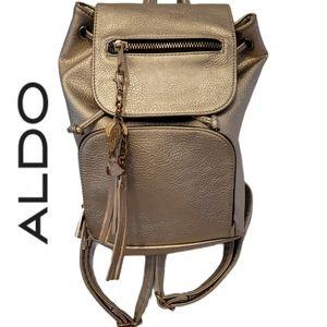 ALDO vegan leather silver backpack